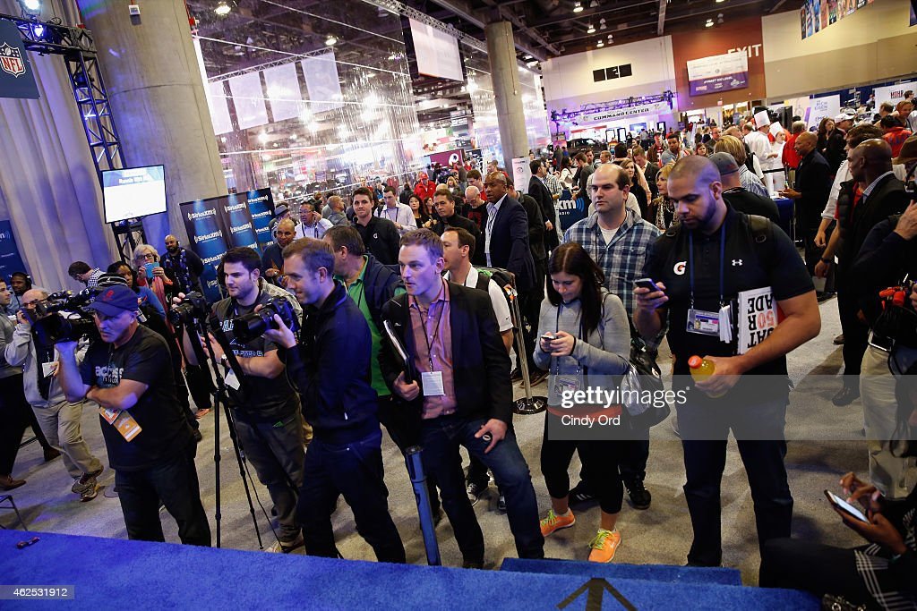 A general view of atmosphere at SiriusXM at Super Bowl XLIX Radio Row at the Phoenix Convention Center on January 30 2015 in Phoenix Arizona