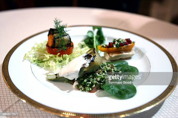 A general view of atmosphere at the Beverly Hilton unveils menu for 71st annual Golden Globes held at The Beverly Hilton Hotel on January 3 2014 in...