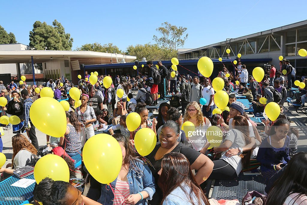 A general view of atmosphere at the 'Bully' Documentary DVD Balloon Release Party at Culver City High School on February 28, 2013 in Culver City, California.