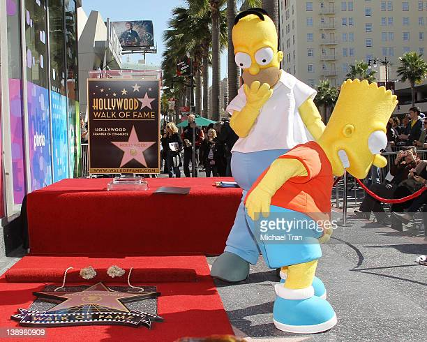 A general view of atmosphere at the ceremony honoring Matt Groening with a Star on The Hollywood Walk of Fame on February 14 2012 in Hollywood...