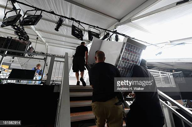 A general view of atmosphere at the Diet Pepsi DJ booth during Spring 2013 MercedesBenz Fashion Week at Lincoln Center for the Performing Arts on...