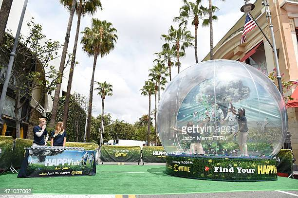 A general view of atmosphere at the HAPPYish Snow Globe Installation at The Grove on April 24 2015 in Los Angeles California