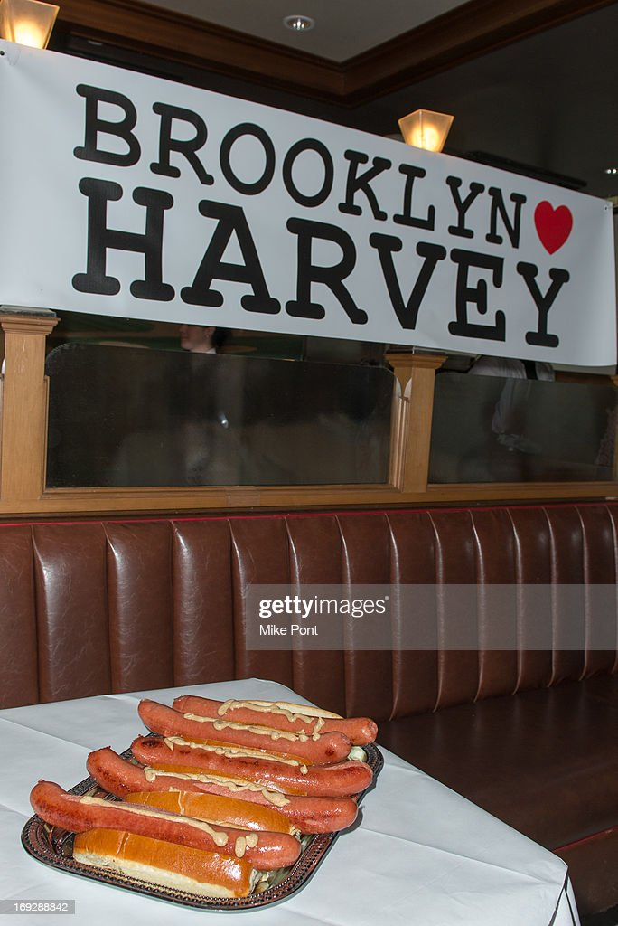 A general view of atmosphere at The Harvey Fierstein 15-Bite Brooklyn Diner 'All Beef' Hot Dog Unveiling at Brooklyn Diner on May 22, 2013 in New York City.