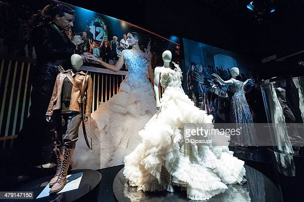 A general view of atmosphere at The Hunger Games The Exhibition Opening Day at Discovery Times Square on July 1 2015 in New York City