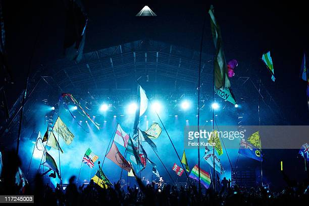 A general view of atmosphere at the pyramid stage during the set of U2 on the second day of Glastonbury Festival 2011 at Worthy Farm on June 24 2011...