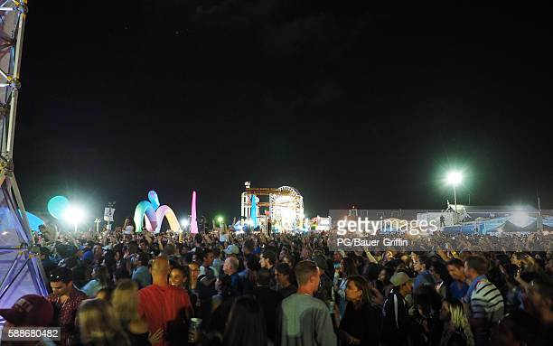 A general view of atmosphere at the Rufus du Sol concert on the Santa Monica Pier on August 11 2016 in Los Angeles California