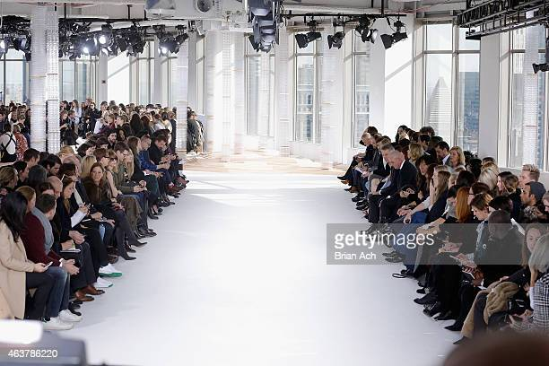 A general view of atmosphere at the runway at the Boss Womens fashion show during MercedesBenz Fashion Week Fall on February 18 2015 in New York City
