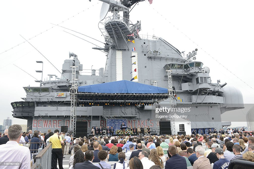 A general view of atmosphere at the Space Shuttle Pavilion ribbon cutting at the Intrepid Sea-Air-Space Museum on July 19, 2012 in New York City.