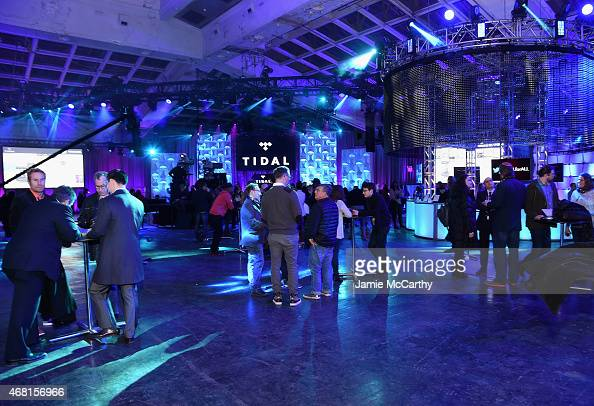 A general view of atmosphere at the Tidal launch event #TIDALforALL at Skylight at Moynihan Station on March 30 2015 in New York City