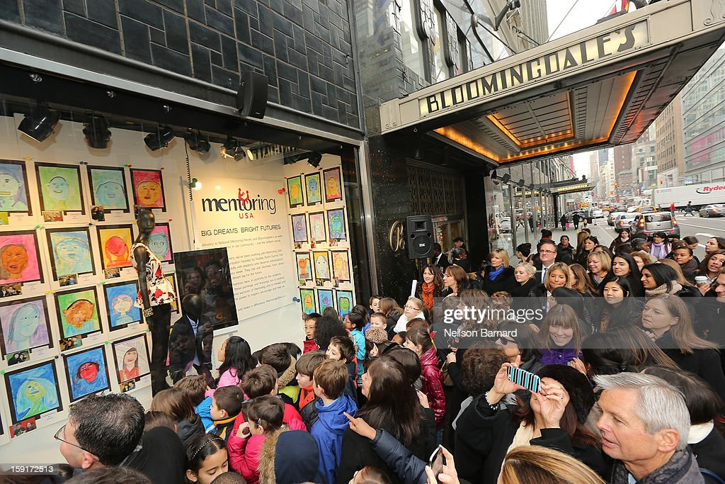 A general view of atmosphere at the unveiling of the Bloomingdale's Mentoring USA window displaying children's artwork at Bloomingdale's 59th St. and Mentoring USA's celebration of National Mentoring Month on January 9, 2013 in New York City.
