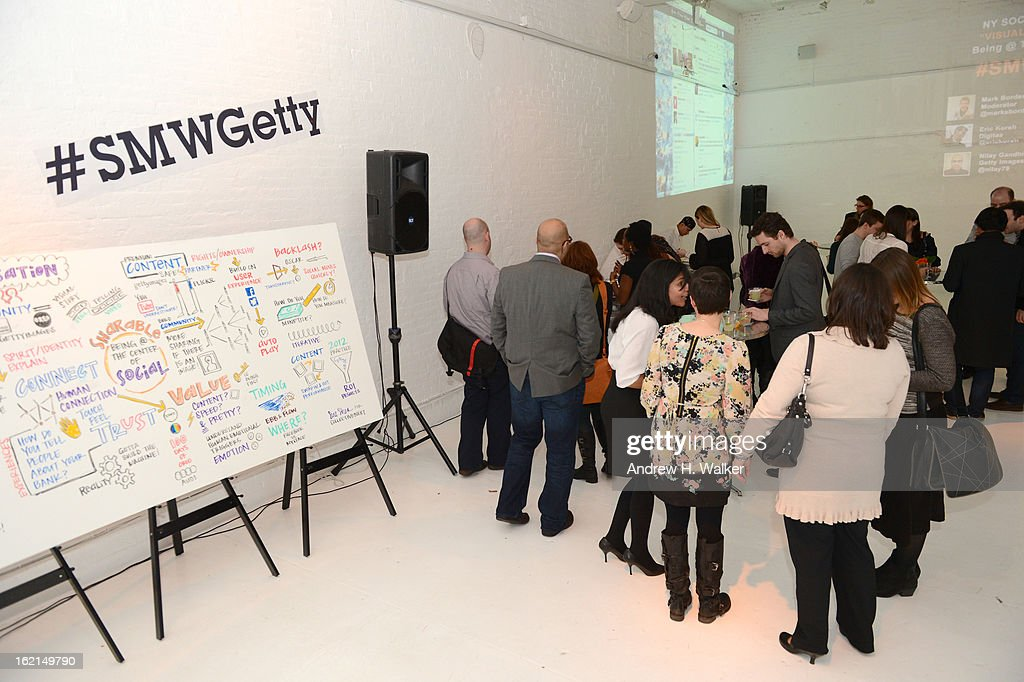 A general view of atmosphere at 'Visual Conversation: Being @ The Center Of Social' Hosted by Getty Images during Social Media Week 2013 at Openhouse Gallery on February 19, 2013 in New York City.