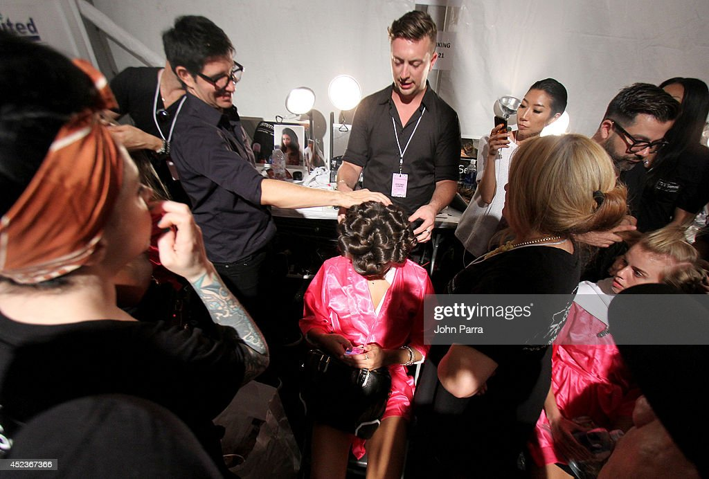 A general view of atmosphere backstage at the Beach Bunny Featuring The Blonds show during MercedesBenz Fashion Week Swim 2015 at Cabana Grande at...