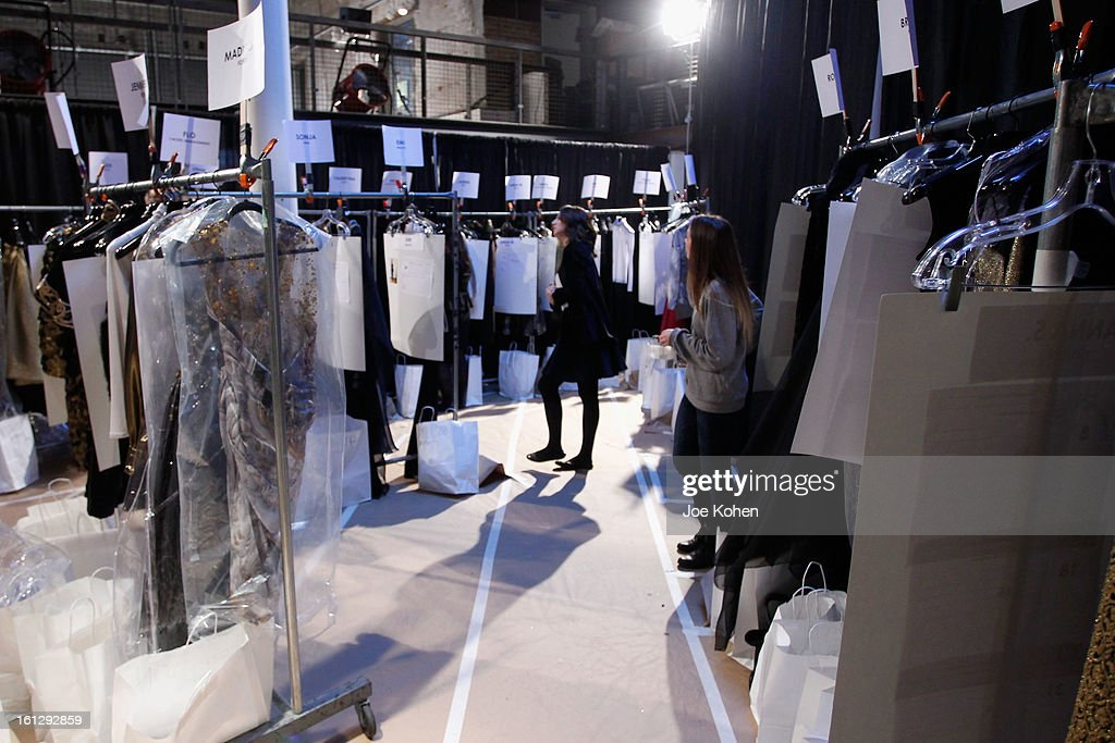 General view of atmosphere backstage at the Christian Siriano Fall 2013 fashion show during Mercedes-Benz Fashion Week on February 9, 2013 in New York City.