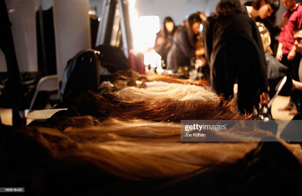 A general view of atmosphere backstage at the Edun Fall 2013 fashion show during Mercedes-Benz Fashion Week at Skylight West on February 7, 2013 in New York City.