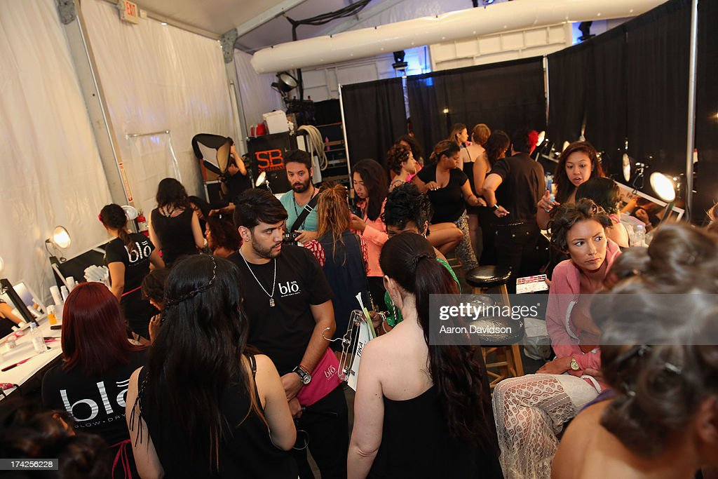 A general view of atmosphere backstage at the Naila/ Sauvage/ Zingara Swimwear show At Mercedes-Benz Fashion Week Swim 2014 at Cabana Grande at the Raleigh on July 22, 2013 in Miami, Florida.