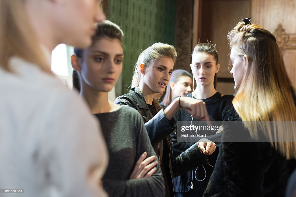 A general view of atmosphere backstage before the Steffie Christiaens Fall/Winter 2013 Ready-to-Wear show as part of Paris Fashion Week on February 26, 2013 in Paris, France.