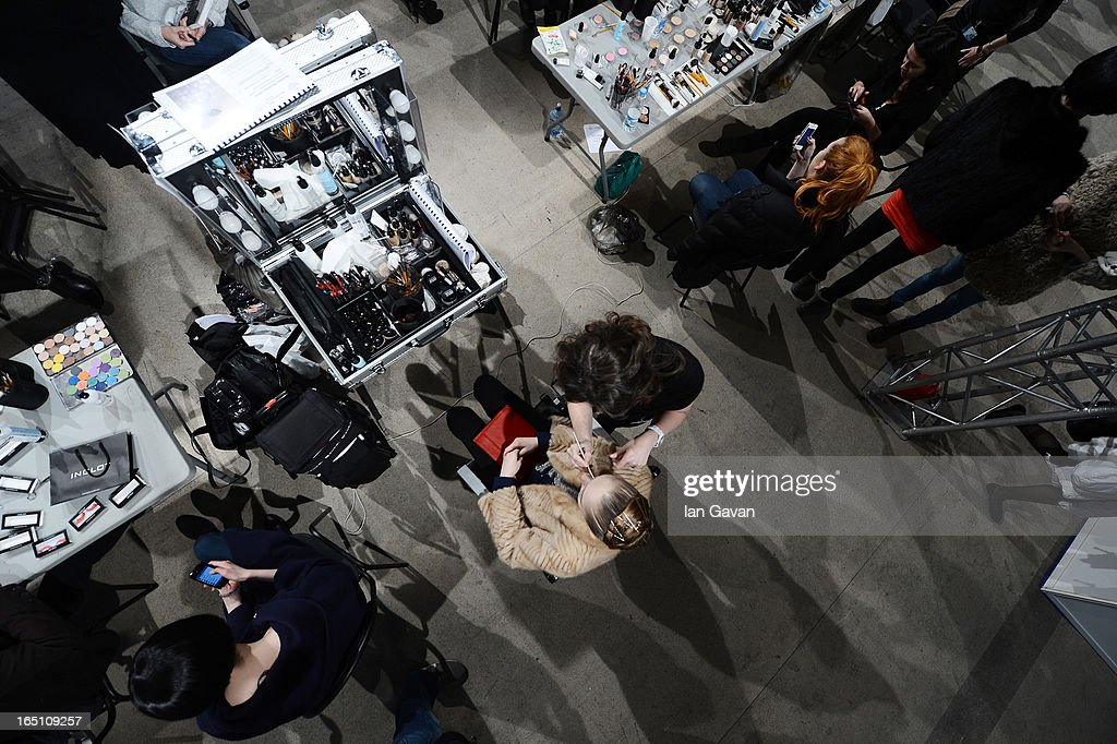 A general view of atmosphere backstage during Mercedes-Benz Fashion Week Russia Fall/Winter 2013/2014 at Manege on March 30, 2013 in Moscow, Russia.