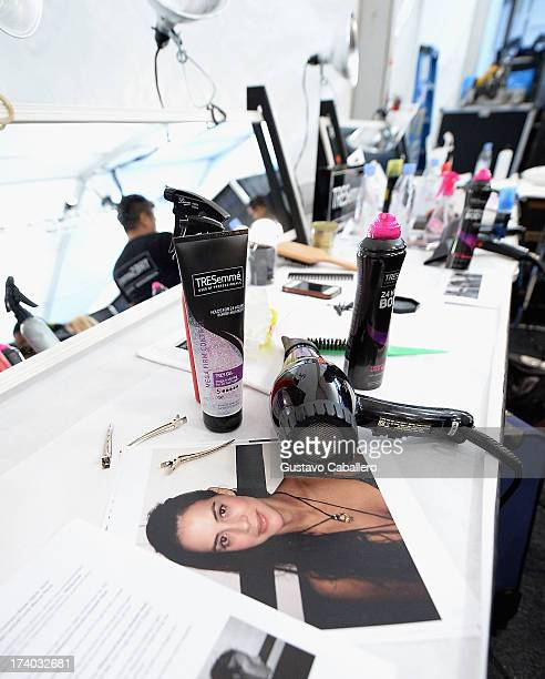 A general view of atmosphere backstage with TRESemme at the Agua Bendita show during MercedesBenz Fashion Week Swim 2014 at Cabana Grande at the...