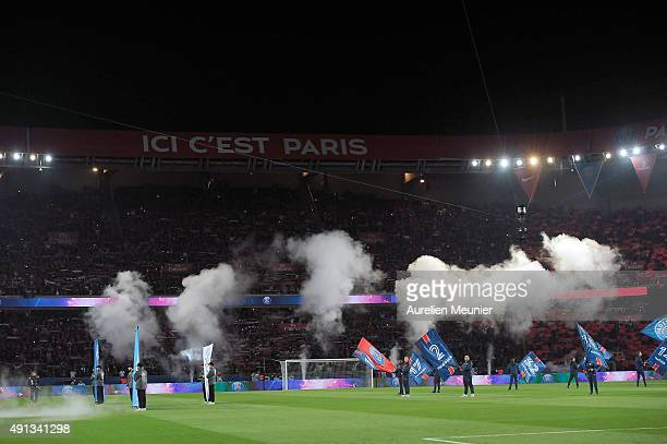 A general view of atmosphere before the kick off of the Ligue 1 game between Paris SaintGermain and Olympique de Marseille at Parc des Princes on...