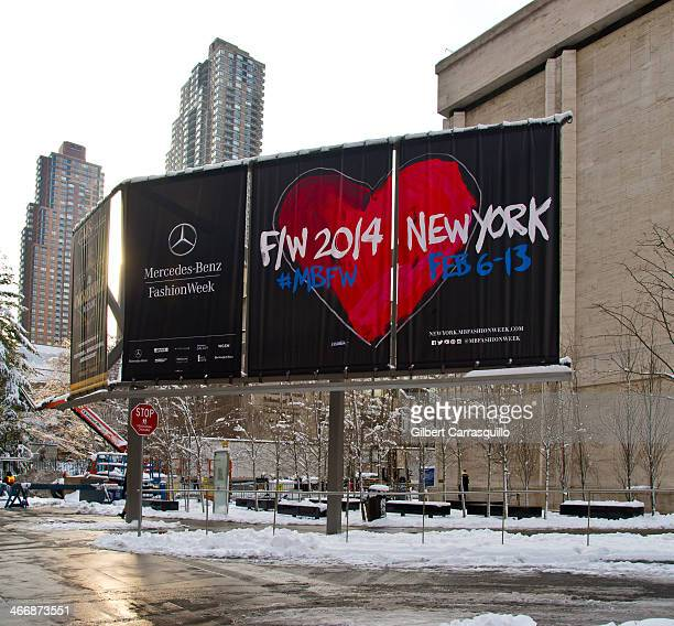 A general view of atmosphere before the start of 2014 Mercedes Benz Fashion Week at Lincoln Center on February 4 2014 in New York City