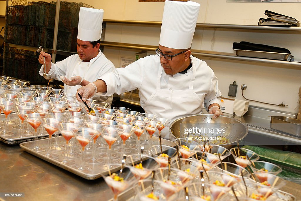 A general view of atmosphere during a behind the scenes kitchen tour and suite menu tasting for the 55th Annual GRAMMY Awards at Staples Center on February 4, 2013 in Los Angeles, California.