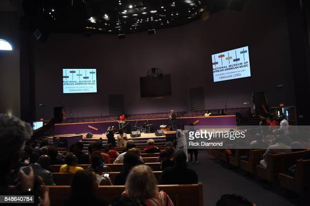 A general view of atmosphere during before an Evening with Richard Smallwood and Yolanda Adams benefiting The National Museum Of African American...