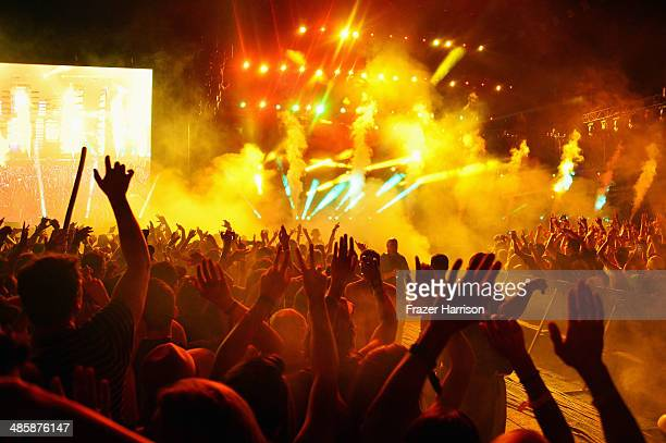 A general view of atmosphere during DJ Calvin Harris performance during day 3 of the 2014 Coachella Valley Music Arts Festival at the Empire Polo...