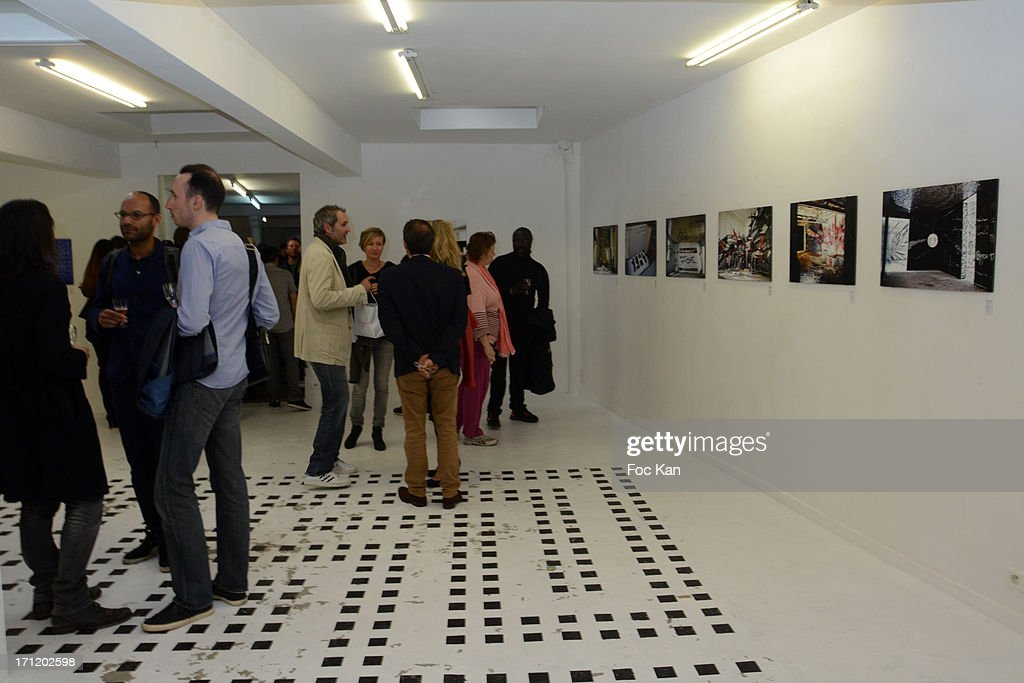 A general view of atmosphere during 'Les Bains Residence d'Artistes' Exhibition Preview And Book Launch at the Galerie Magda Danysz on June 22, 2013 in Paris, France.