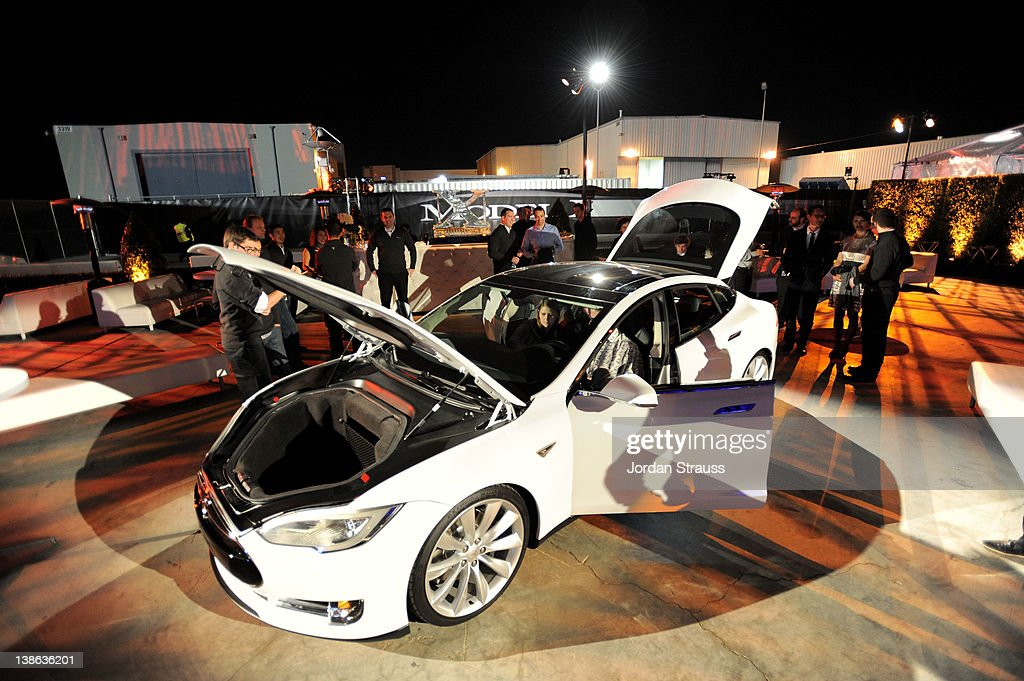 A general view of atmosphere during Tesla Worldwide Debut of Model X on February 9, 2012 in Los Angeles, California.