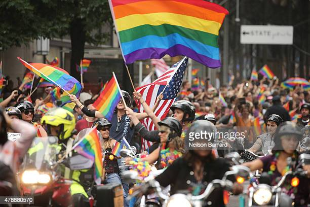 A general view of atmosphere during the 2015 New York City Pride march on June 28 2015 in New York City
