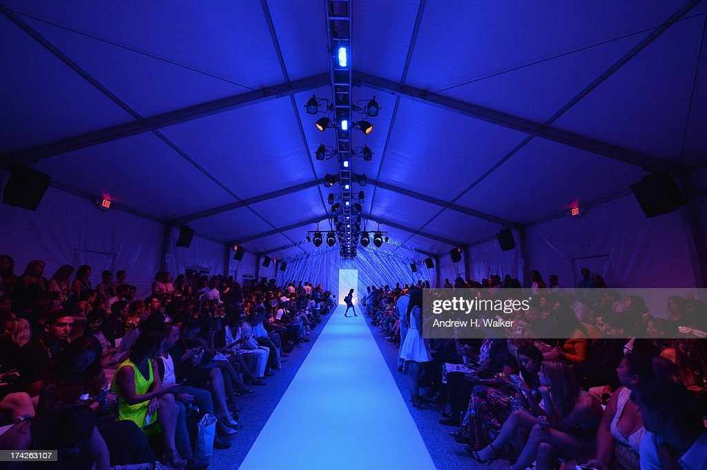 A general view of atmosphere during the Anna Kosturova/Beach Riot/Lolli Swim/Manglar/Indah show during Mercedes-Benz Fashion Week Swim 2014 at the Raleigh on July 22, 2013 in Miami Beach, Florida.