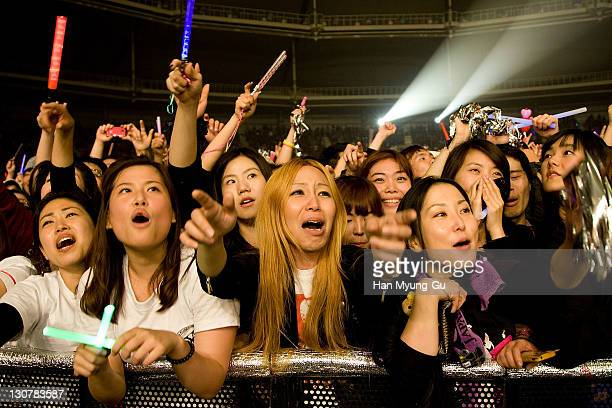 A general view of atmosphere during the band X Japan performs live during a concert at Olympic Gymnasium on October 28 2011 in Seoul South Korea