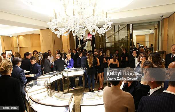 A general view of atmosphere during the Cartier Boutique reopening cocktail party on October 5 2012 in Milan Italy