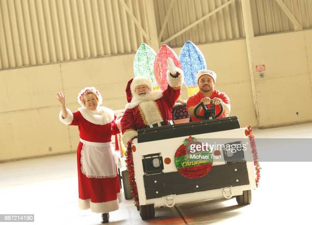 A general view of atmosphere during the Delta Air Lines 7th Annual 'Holiday In The Hangar' event held at LAX Airport on December 6 2017 in Los...