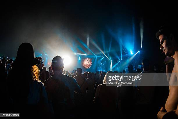 A general view of atmosphere during the first day of the Tomorrowland music festival at Parque Maeda Itu on April 21 2016 in Sao Paulo Brazil