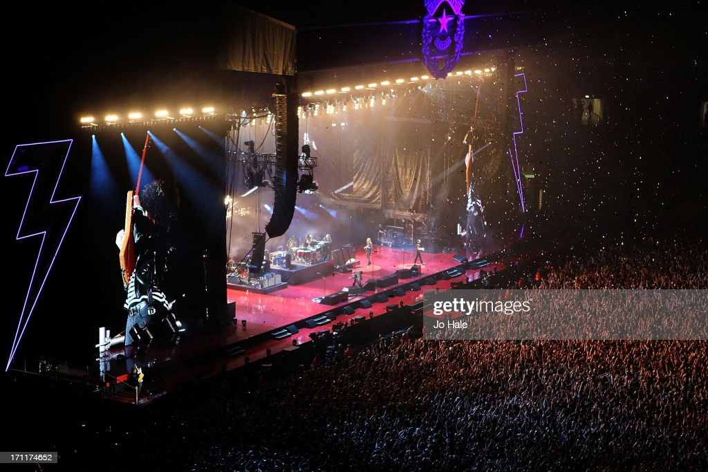 A general view of atmosphere during The Killers performance on stage at Wembley Stadium on June 22, 2013 in London, England.