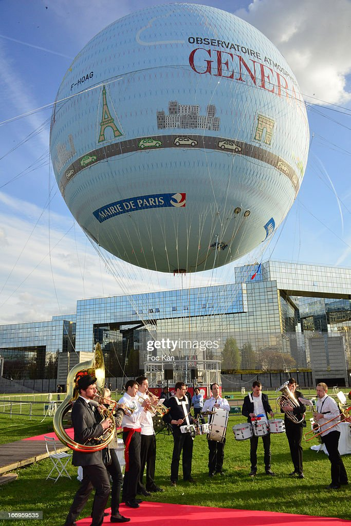A general view of atmosphere during the Launch of The New Paris Observatory Atmospheric Generali Balloon - Cocktail Party at the Parc Andre Citroen on April 18, 2013 in Paris, France.