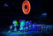 A general view of atmosphere during the Opening Ceremony of the Sochi 2014 Winter Olympics at Fisht Olympic Stadium on February 7 2014 in Sochi Russia