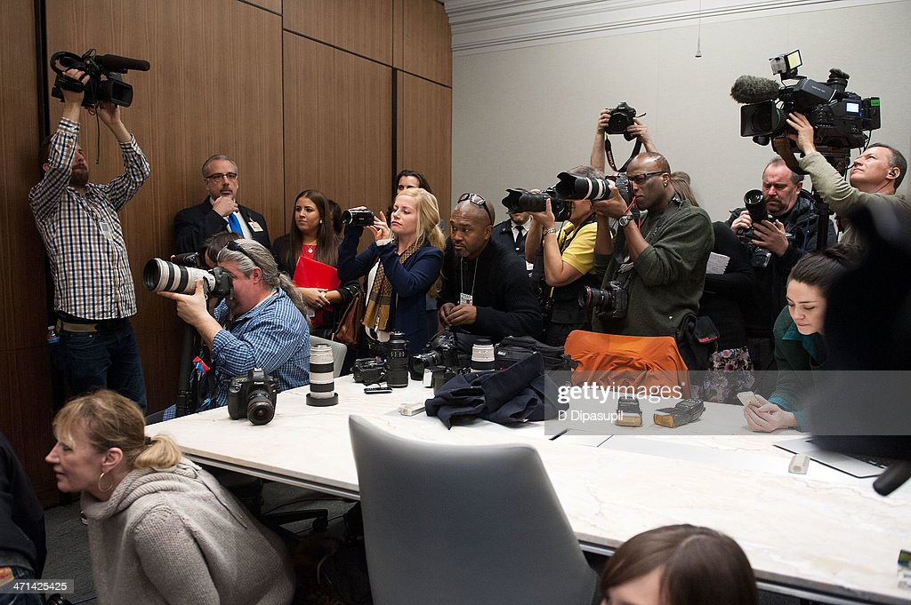 A general view of atmosphere during the press conference with Christopher O'Neill, husband of H.R.H. Princess Madeleine of Sweden, at NewYork-Presbyterian/ Weill Cornell Medical Center on February 21, 2014 in New York City. The 31-year-old Princess, whose full title is Madeleine Therese Amelie Josephine, Princess of Sweden, Duchess of Halsingland and Gastrikland, is fourth in line to the throne of Sweden. She married US-British banker Christopher O'Neill in June, and the couple announced in September that they were expecting their first child. 'The Office of the Marshal of the Realm is delighted to announce that H.R.H. Princess Madeleine gave birth to a daughter on February 20, 2014 at 10.41 pm local time New York,' the Swedish court said. 'Both mother and child are in good health.'