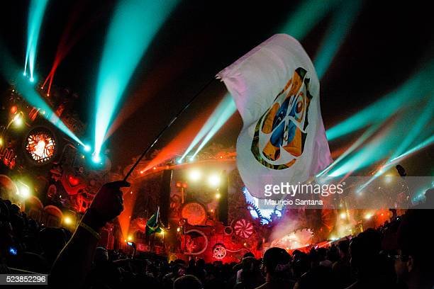 A general view of atmosphere during the third day of the Tomorrowland music festival at Parque Maeda Itu on April 23 2016 in Sao Paulo Brazil