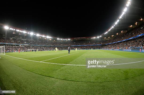 A general view of atmosphere during the UEFA Champions League Quarter Final First leg between Paris SaintGermain and Barcelona FC at Parc des Princes...