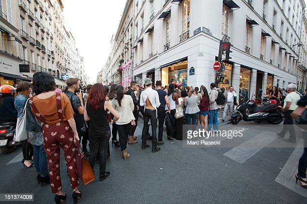 A general view of atmosphere during the Vogue Fashion Night Out on September 6 2012 in Paris France