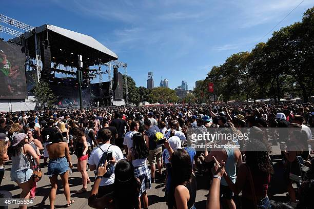 General view of atmosphere erforms on stage during 2015 Budweiser Made in America festival at Benjamin Franklin Parkway on September 6 2015 in...