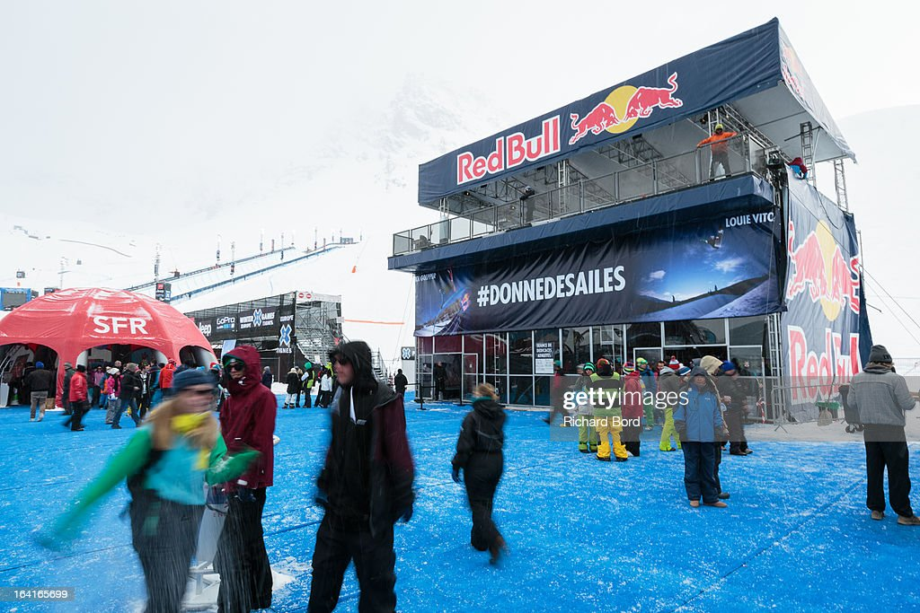 A general view of atmosphere in the X-Games village during day three of Winter X Games Europe 2013 on March 20, 2013 in Tignes, France.