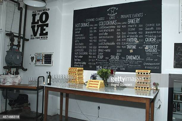 A general view of atmosphere including Toblerone chocolate products on display at Girl And The Bull A Dinner hosted by Stephanie Izard and Ken...