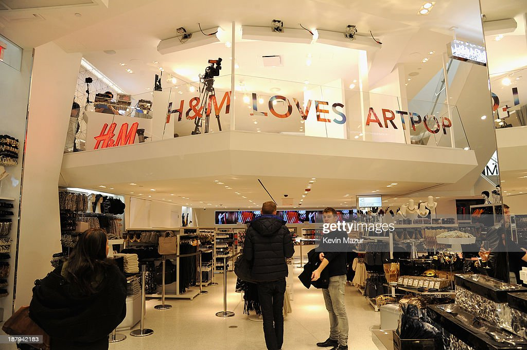 A general view of atmosphere inside as H&M and Lady Gaga open an epic H&M store in Times Square on November 13, 2013 in New York City.