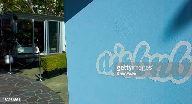 A general view of atmosphere is seen at Airbnb's Hello LA event at The Grove on September 30 2013 in Los Angeles California