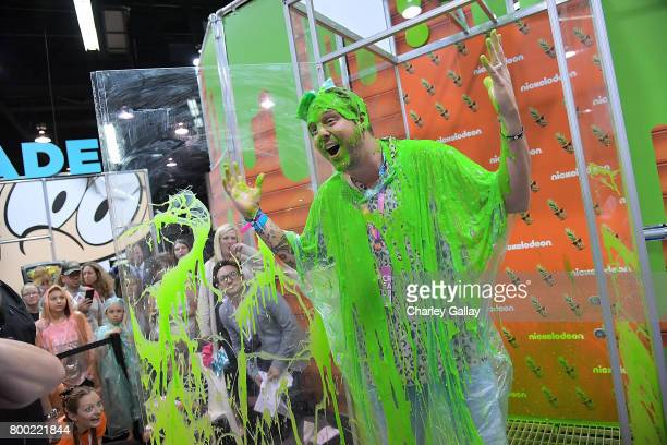 A general view of atmosphere is seen at the Nickelodeon Booth at VidCon 2017 at the Anaheim Convention Center on June 23 2017 in Anaheim California