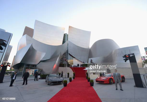 A general view of atmosphere is seen during the Ferrari California T State of The Art Los Angeles Premiere at Walt Disney Concert Hall on June 21...