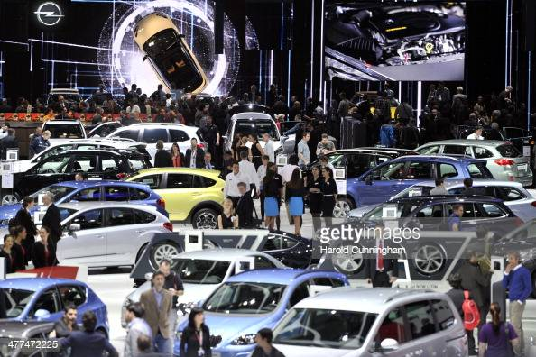 A general view of atmosphere is seen during the press day of the 84th International Motor Show which will showcase novelties of the car industry on...